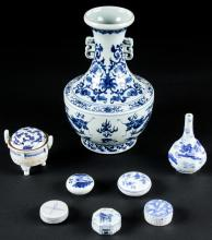 8 Asian Blue and White Porcelain Items