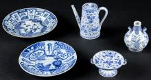 5 Blue and White Porcelain Items, 17th/19th C