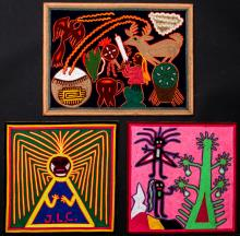 3 Lap Sized Mexican Huichol Yarn Paintings