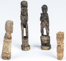 4 Batak Indonesian Carved Figural Artifacts