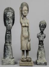 3 Haitian Carved Wood Sculptures