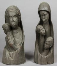 2 Haitian Carved Wood Sculptures