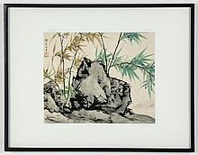 C.C.Wang (Chinese) Bamboo and Rock