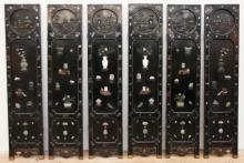 Antique Chinese Six-Panel Jade and Nacre Screen