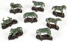 Group of 8 Chinese Carved Jade Horses