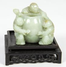 Antique Chinese Jade Three-Boy Water Coupe with Stand