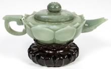 Antique Chinese Jade Lotus Form Teapot with Stand