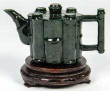 Antique Chinese Spinach Jade Bamboo Form Teapot with Stand