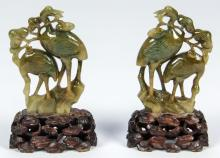 Pair of Antique Chinese Jadeite Cranes with Stands