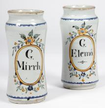 Pair of French Tin Glazed Drug Jars