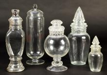 Group of 5 Antique Glass Candy Jars