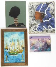 4 Haitian Paintings by Various (20th c.) Artists