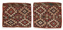 2 Old Caucasian Sumakh Cushion Covers
