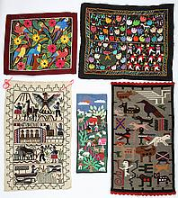 5 Central American Pictorial Embroideries