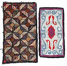 2 Old/Antique American Folk Art Hooked Rugs