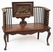 Anthological Hall Bench with Carved Pub Scene