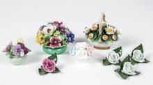 Herend Capodimonte and Royal Staffordshire Porcelain Flowers