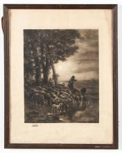 Frederic Jacques Framed Etching