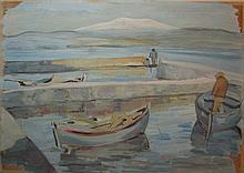 Kaete Ephraim Marcus 1892-1970 (Israeli) Fishermen in the Kinneret gouache on cardboard