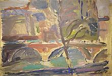 Moshe Rosenthalis 1922- 2008 (Lithuanian) View of the bridge oil on cardboard