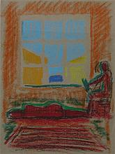 Ofer Lellouche b.1947 (Israeli) Couple next to the window panda on paper