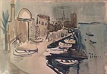 Joseph Kossonogi 1908-1981 (Israeli) Acre port watercolor on paper