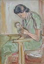 Zvi Shor 1898-1979 (Israeli) Mother and child oil on cardboard