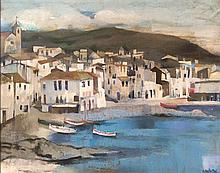 Ramon Aguilar More b.1924 (Spanish) Port oil on canvas