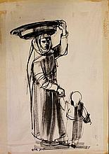 Ruth Schloss 1922-2013 (Israeli) Mother and child ink and wash on paper