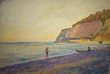 Meir Axelrod 1902-1970 (Russian, Israeli) Figures at the beach oil on cardboard
