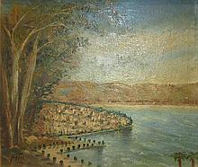 Albert Goldman b. 1922 (Israeli) Seaside city oil on canvas mounted on cardboard