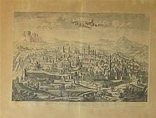 French school 19th c. 19th Century French etching- View of the old city, Jerusalem, Chereau printer, Paris. etching