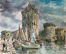 Raymond Beshe 1899-1969 (French) Boats in the port oil on canvas
