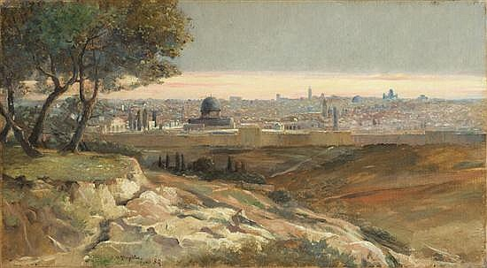 **T. M. Templeton 19th century (British) View of Jerusalem, 1889 oil on canvas
