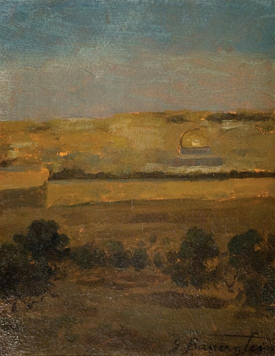 **Gustav Bauernfeind 1848-1904 (German) Jerusalem landscape oil on cardboard