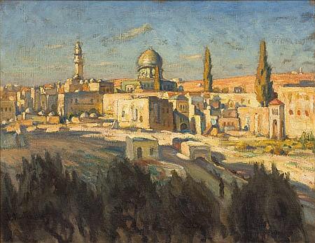 Abraham Neumann 1873-1942 (Polish) Jerusalem oil on canvas