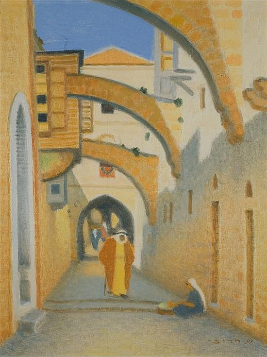Shmuel Charuvi 1897-1965 (Israeli) Old City alley, 1936 oil on canvas