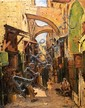 **Ludwig Blum 1891-1975 (Israeli) David Street, Jewish Quarter, Jerusalem, 1930's oil on canvas