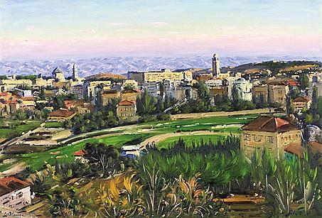 **Ludwig Blum 1891-1975 (Israeli) View of Jerusalem, 1963 oil on canvas