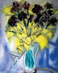 Reuven Rubin 1893-1974 (Israeli) Mimosas and black irises oil on canvas