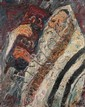 Yitzhak Frenkel Frenel 1899-1981 (Israeli) A Rabbi holding the Torah oil on canvas