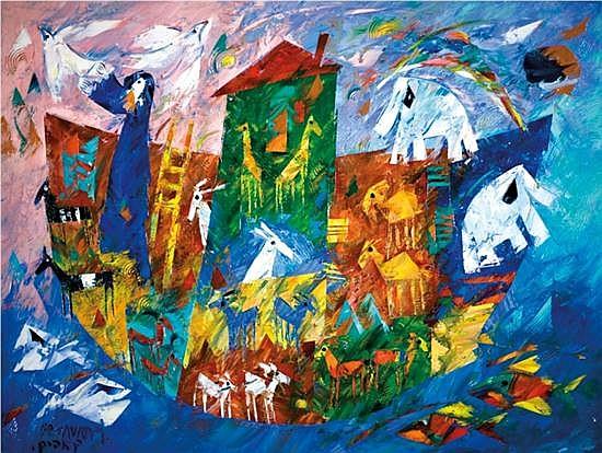 Ben Avram b.1937 (Israeli) Noah's ark oil on canvas