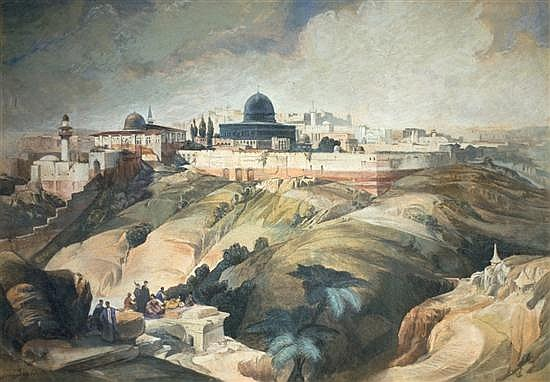 **David Roberts (Attributed) 1796-1864 (Scottish) View of Jerusalem gouache on paper
