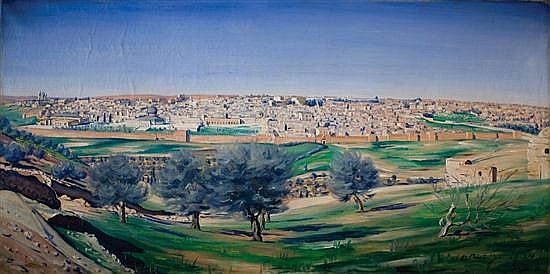 **Ludwig Blum 1891-1975 (Israeli) View of the old city, Jerusalem, 1927 oil on canvas