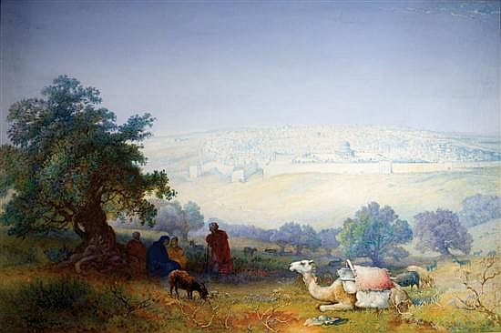 **Paul H. Ellis 1882-1908 (British) Jerusalem from the Mount of Olives, 1902-03 watercolor and gouache on paper