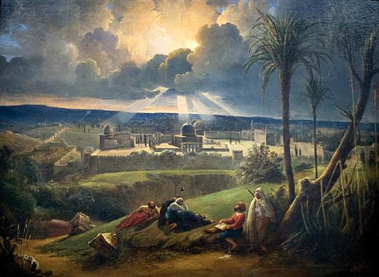 **French School 19th century Jerusalem landscape oil on canvas