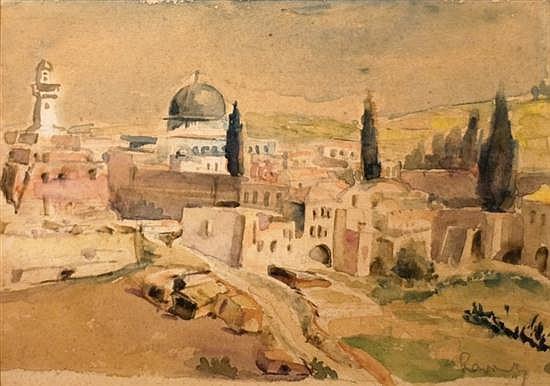 Fredrick William Rowney 1820-1902 (British) Old City, Jerusalem watercolor on paper