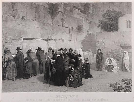 **Alexandre Bida 1813-1895 (French) Jews praying at the Wailing Wall, c. 1890 etching