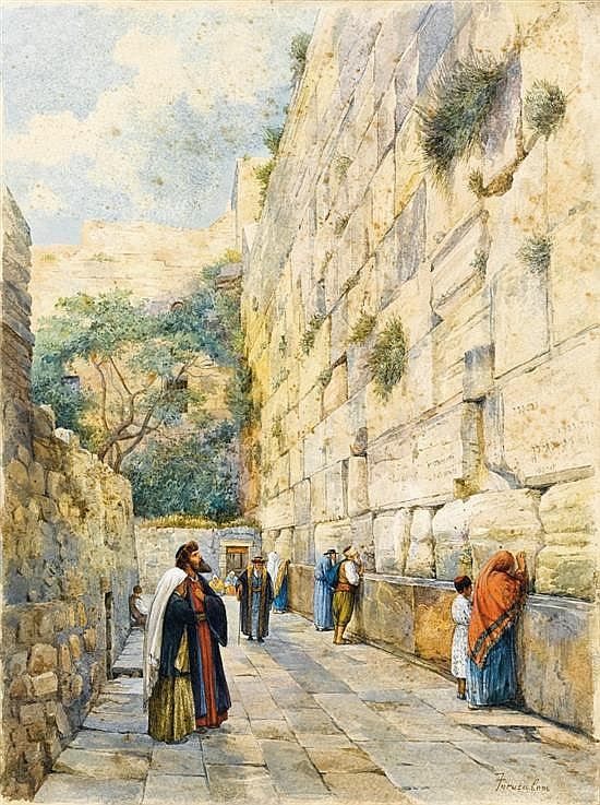 **Gustav Bauernfeind 1848-1904 (German) The Wailing Wall, Jerusalem, c. 1904 watercolor on paper