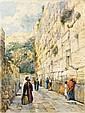 **Gustav Bauernfeind 1848-1904 (German) The Wailing Wall, Jerusalem, c. 1904 watercolor on paper